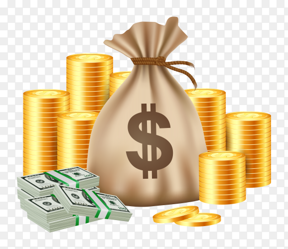 Stacks coins money bag on transparent background PNG