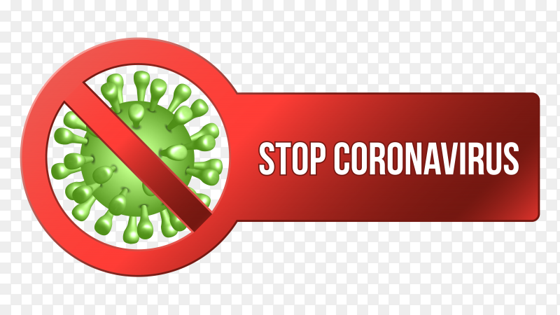 Stop coronavirus design on transparent background PNG