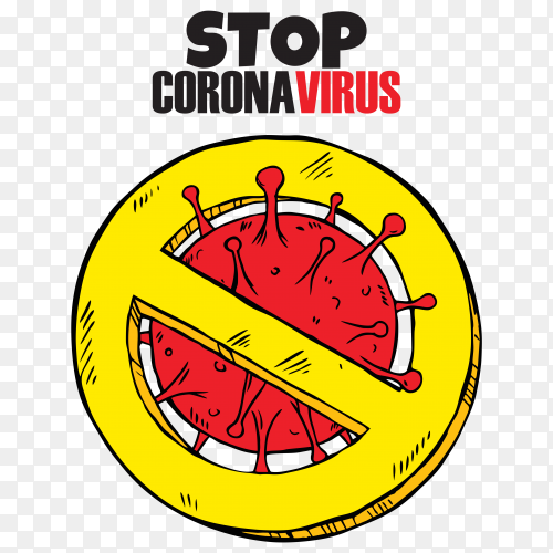 Stop coronavirus illustration isolated on transparent PNG