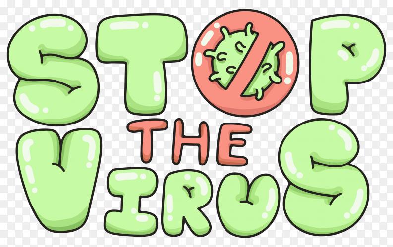 Stop virus coronavirus typography on transparent background PNG