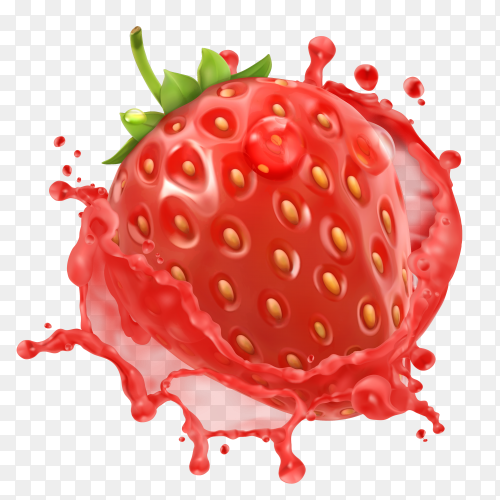 Strawberry Splash with fresh juicy on transparent background PNG