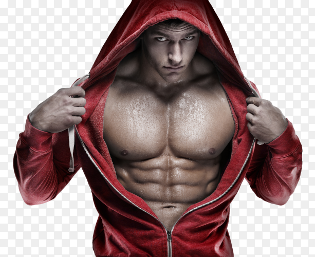 Strong bodybuilder – Muscular man working out in gym doing exercises transparent PNG