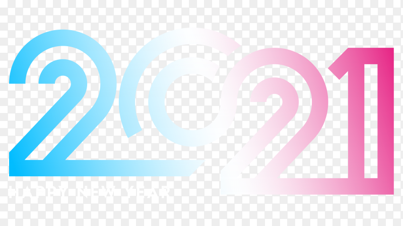Stylish 2021 number illustration on transparent PNG