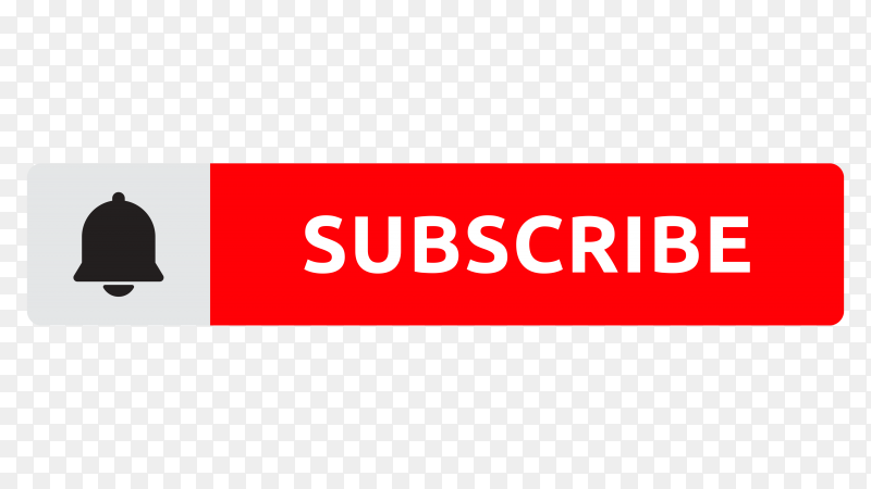 Subscribe bell button with red color on transparent background PNG