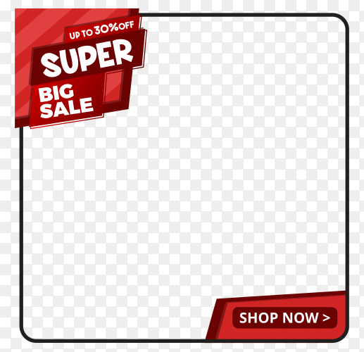 Super big sale banner design on transparent background PNG