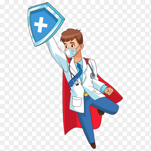 Super doctor flying and holding shield on transparent background PNG
