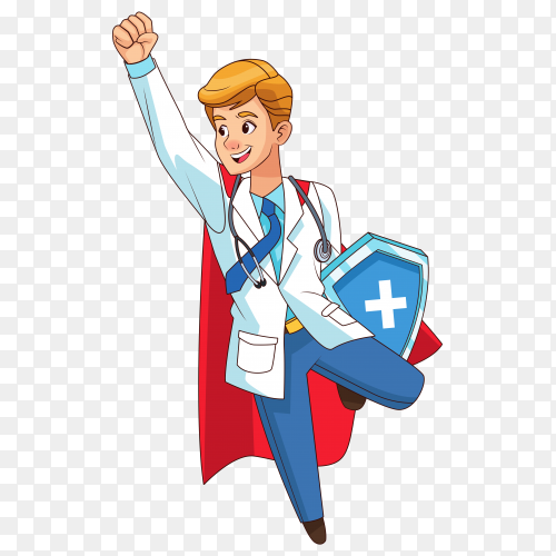 Super doctor flying with shield on transparent background PNG
