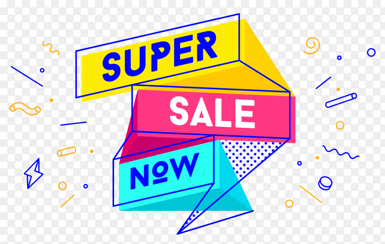 Super sale banner design on transparent background PNG