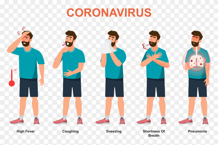 Symptoms of covid-19 on transparent background PNG