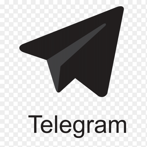 Telegram icon design with black color on transparent background PNG