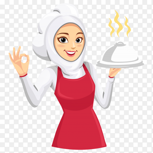 The mascot of a woman chef wearing a red apron on transparent background PNG