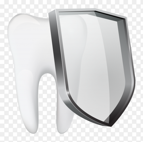 The tooth and shield on transparent background PNG