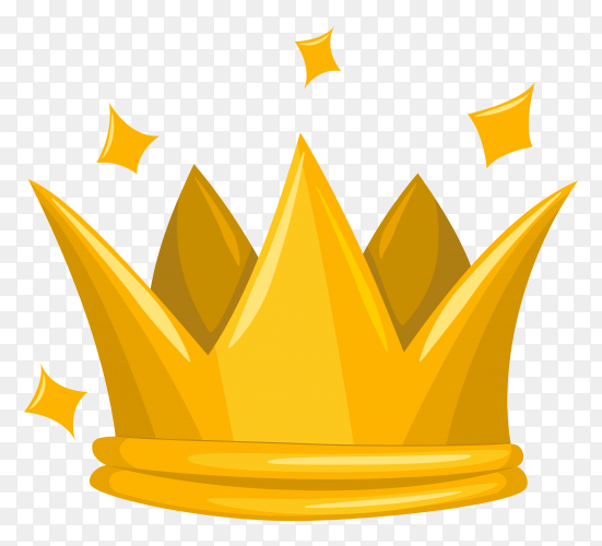 Traditional gold king crown on transparent background PNG