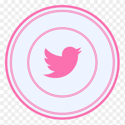 Twitter  icon with pink color on transparent background PNG