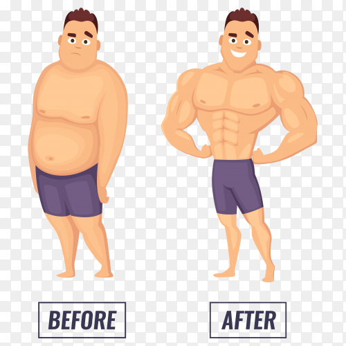 Two characters fat man and fitness man on transparent background PNG