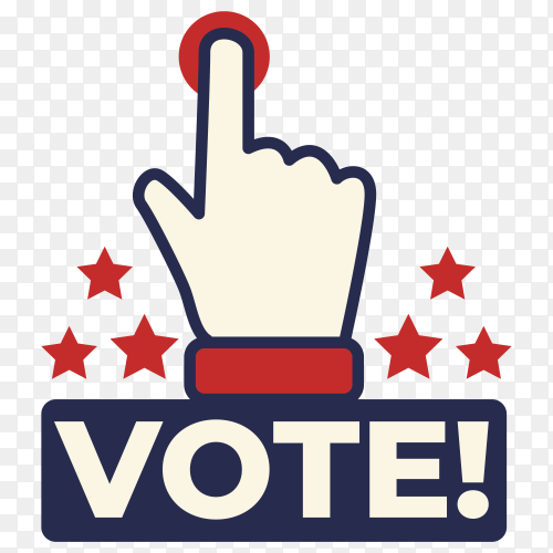 Usa voting badge on transparent background PNG