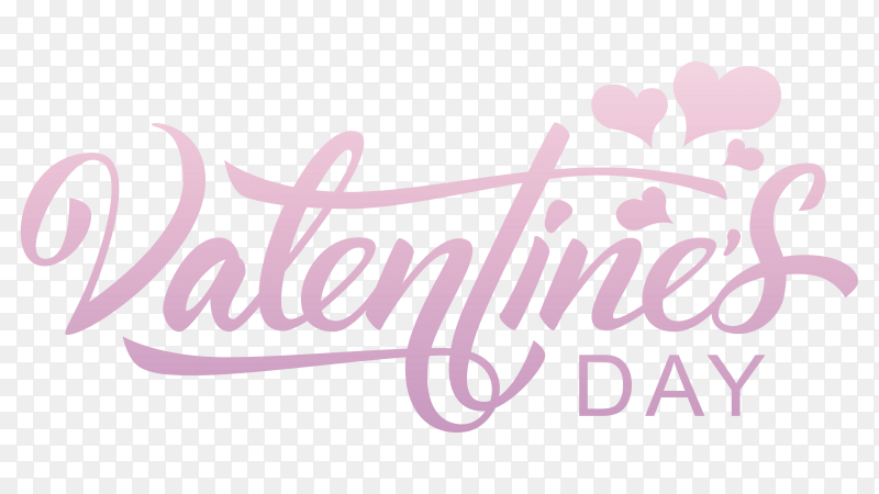 Valentines day hand drawn text premium vector PNG