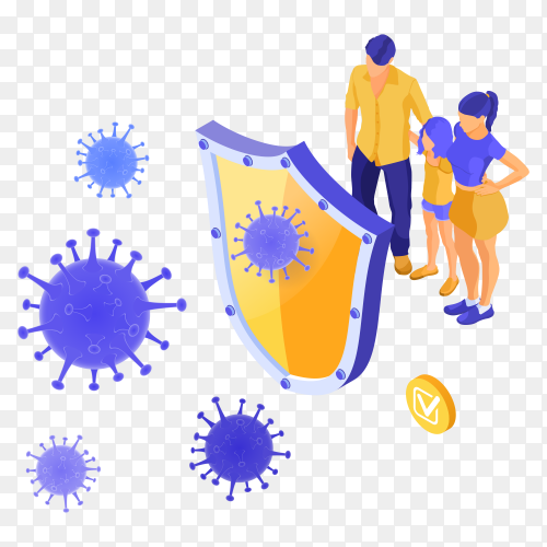 Virus strain with shield protect family on transparent background PNG