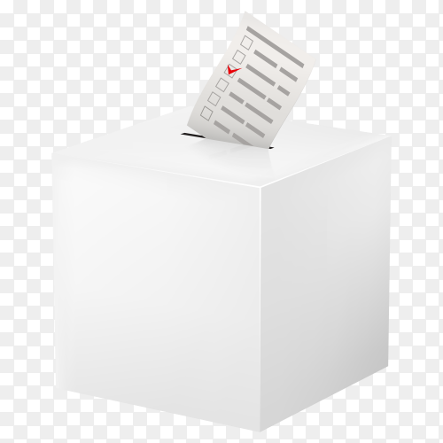 Vote box with checklist on transparent background PNG