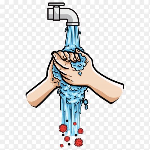 Washing hand illustration on transparent background PNG
