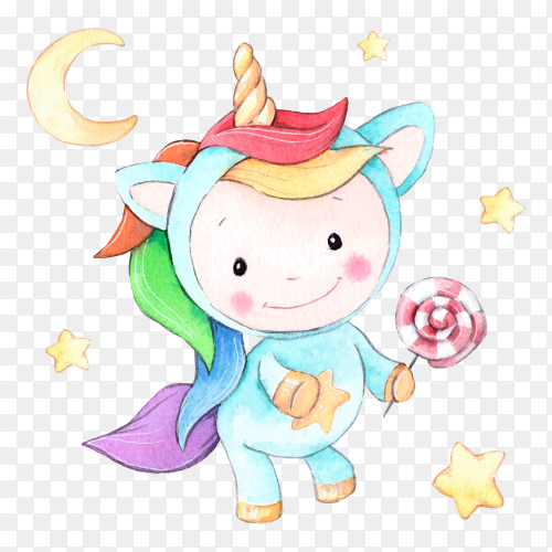 Watercolor cartoon unicorn with lollipop on transparent background PNG