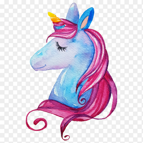 Watercolor painting dreamy unicorn premium vector PNG