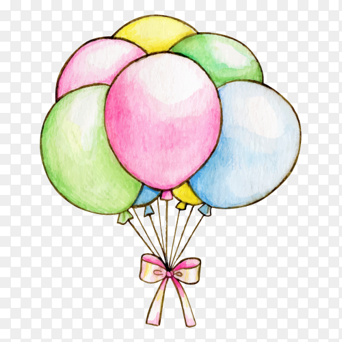 Watercolor pastel colorful balloons with bow on transparent background PNG
