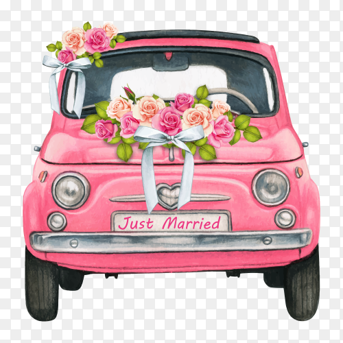 Watercolor pink shiny car for wedding day on transparent background PNG