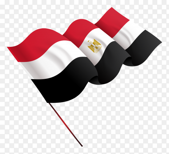 Waving egypt flag in flat design on transparent PNG