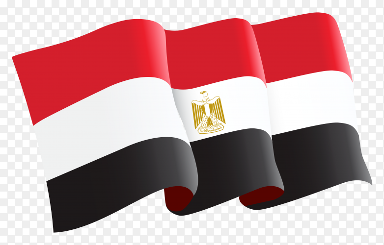 Waving egypt flag in flat design on transparent background PNG