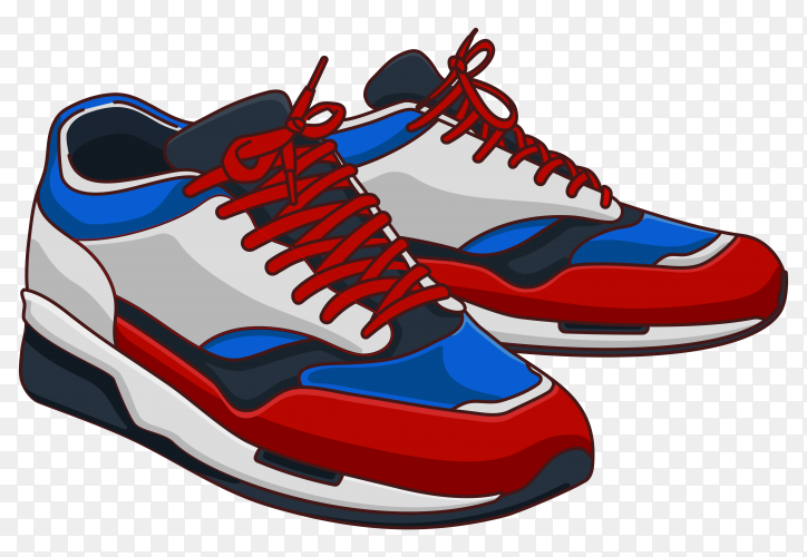 White and blue color sneaker shoes on transparent background PNG