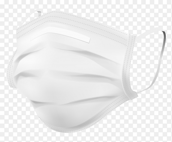 White face medical mask on transparent background PNG
