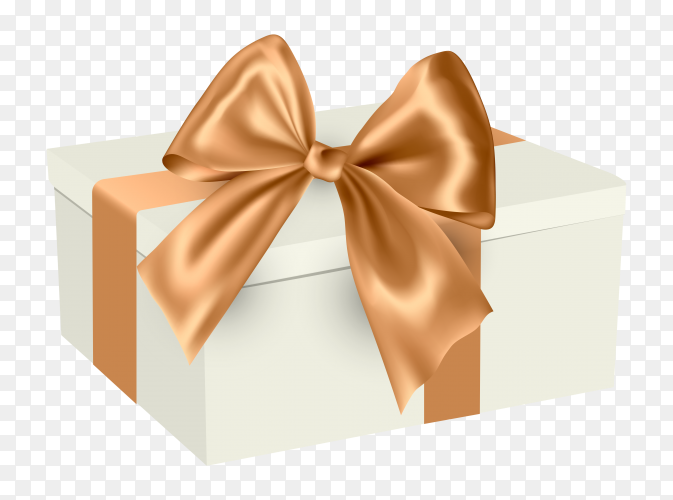 White gift box with ribbon illustration premium vector PNG