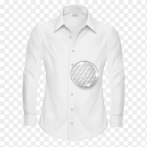 White shirt with magnifying glass on transparent background PNG