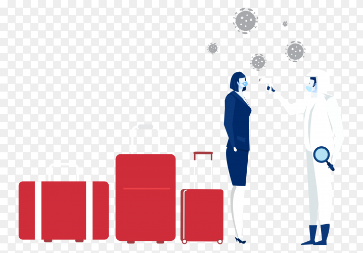 Woman getting his temperature checked on transparent background PNG