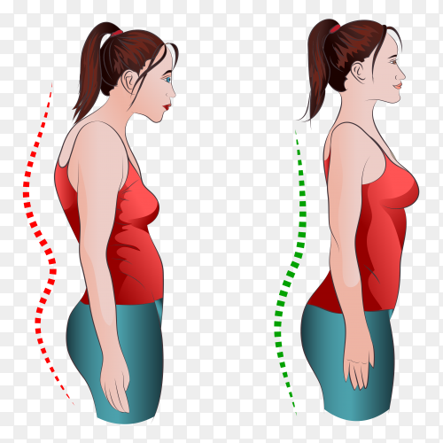 Woman with wrong and right back posture on transparent PNG