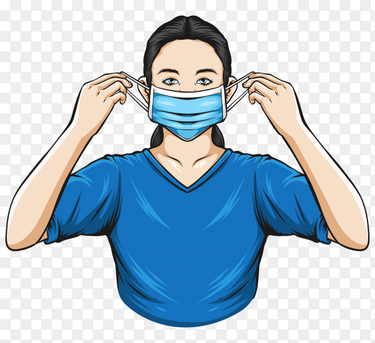 Women wearing medical mask illustration on transparent background PNG