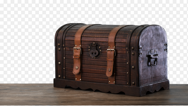 Wooden chest illustration on transparent background PNG