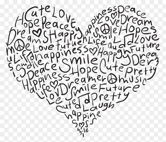 Words in heart shape and positive vibes premium vector PNG