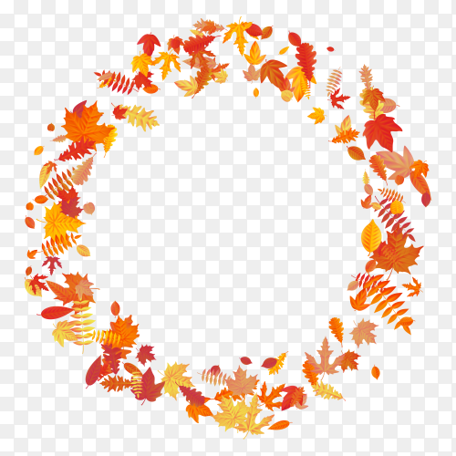 Wreath made of autumn flowers and leaves on transparent background PNG
