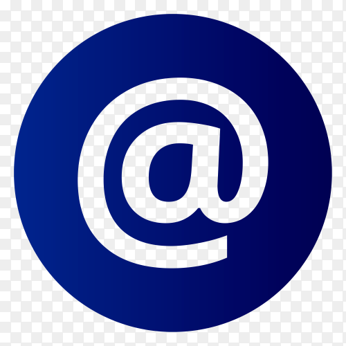 "AT email symbol ""@"" on transparent background PNG"