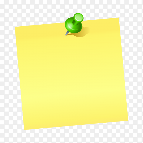 Yellow Note paper and green push pin isolated on transparent background PNG