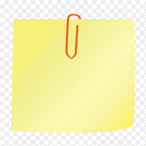Yellow Note paper and push pin isolated on transparent background PNG