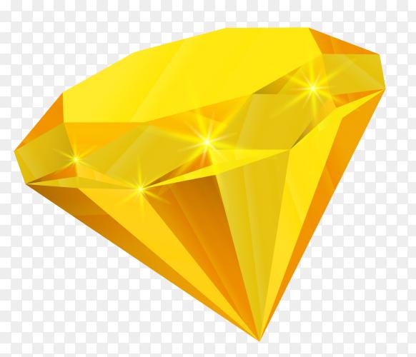 Yellow diamond illustration on transparent background PNG