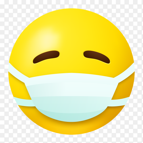 Yellow emoji face wearing medical mask on transparent background PNG