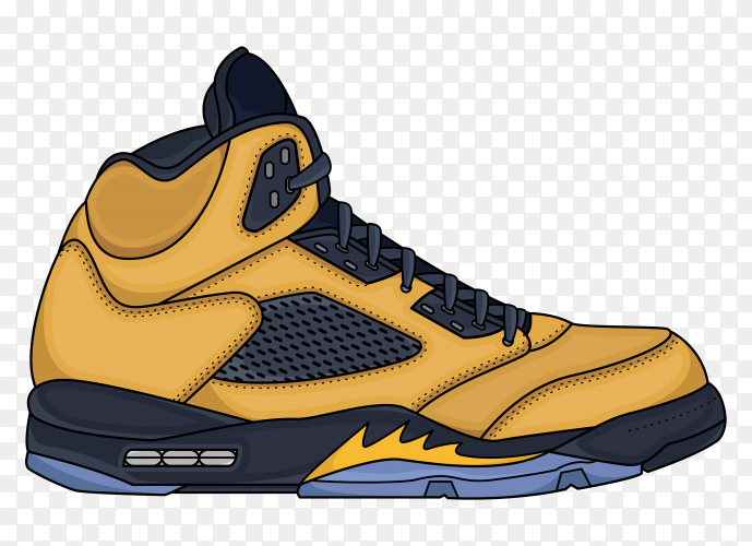 Yellow sneakers design illustration on transparent background PNG