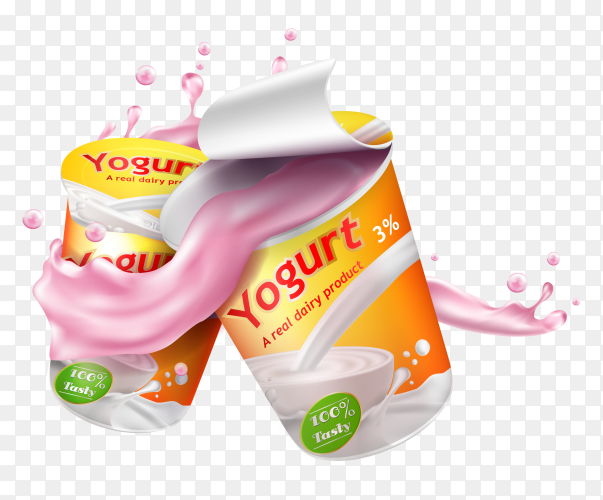 Yoghurt advertising composition on transparent background PNG