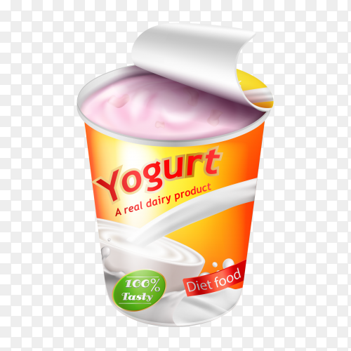 Yogurt ad Illustration on transparent background PNG