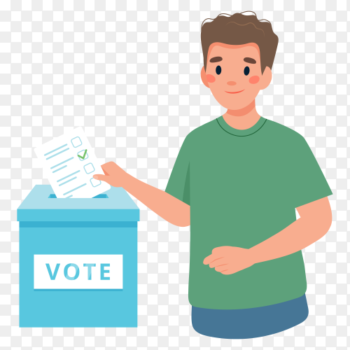 Young man putting vote into ballot box on transparent background PNG