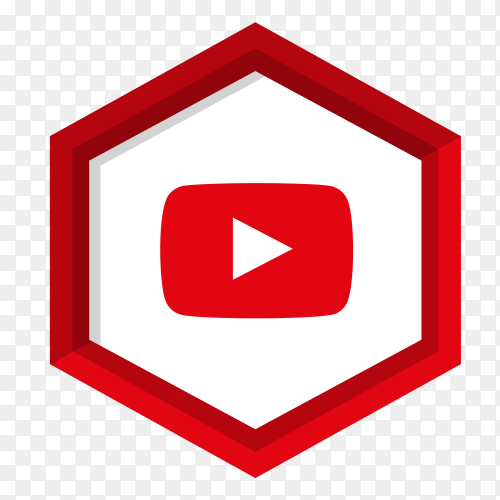 Youtube player icon with flat design on transparent background PNG